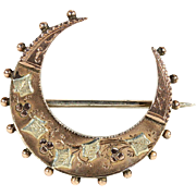 Antique Victorian Crescent Moon Brooch in Rose and Green Gold