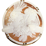 Huge Antique Night and Day Cameo in 12k Gold Frame, a Victorian Stunner