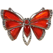 Vintage Art Deco Butterfly Brooch Pin set with Carnelian and Marcasite