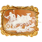 Antique Cameo, Zues Darts Lighting at the Titans, Brooch Pin in Ornate 18k Gold Frame