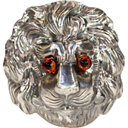 Antique Victorian Lion Brooch Pin in Silver with Glass Eyes, Locket Backed
