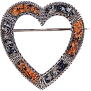 Silver Victorian Scottish Pebble Heart Brooch Pin