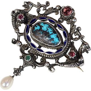 Antique Austro-Hungarian Turquoise Pearl Brooch Pin Silver