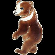 Silver and Enamel Dancing Bear Brooch Pin, Vintage Mid-Century Danish