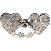 Edwardian Mizpah Double Heart Brooch Silver