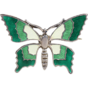 Vintage Green and White Enamel Butterfly Brooch Pin in Silver
