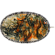 Large Antique Victorian Moss Agate Brooch Pin