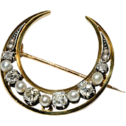 Antique Diamond & Pearl Crescent Brooch/Pin, French c. 1870