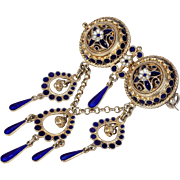 Antique Norwegian Silver Gilt Enamel Brooch by Marius Hammer