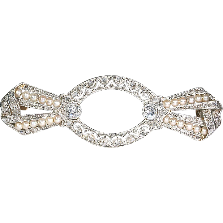Antique Edwardian Diamond and Pearl Bow Brooch Pin in 18k Gold and Platinum
