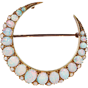 Stunning Antique Opal Crescent Brooch Pendant