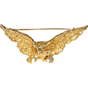 French Griffin Rose Cut Diamond Gold Brooch Pin