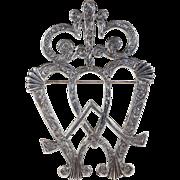 Antique Victorian Luckenbooth Brooch Pin Double Heart Hallmark 1846