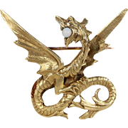 Antique French Wyvern Gold Opal Brooch Pin