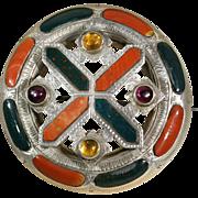 Impressive Antique Scottish Agate Citrine and Amethyst Saint Andrew's Cross Brooch/Pin c.1870