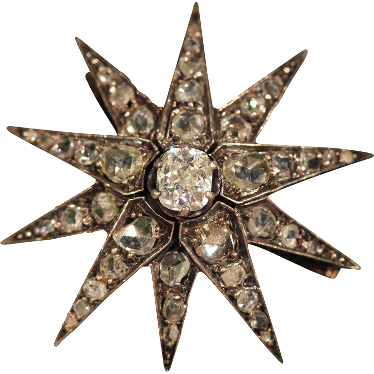 Fantastic Antique Diamond Starburst Brooch with .8ct Cushion Cut Center