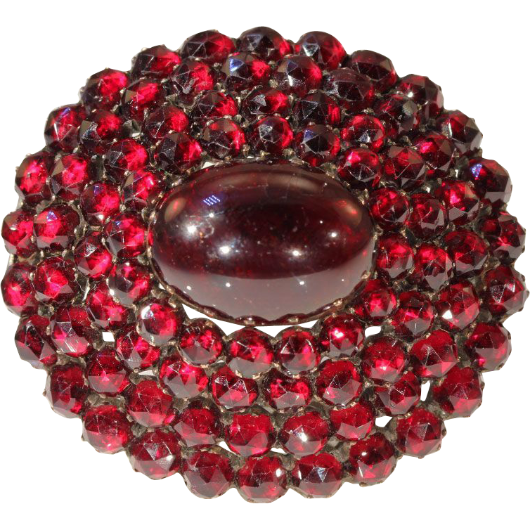Eye-popping Large Victorian Bohemian Garnet Brooch Pin