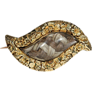 Antique Georgian Mixed Hair Eye Shaped Brooch, 18k c.1800