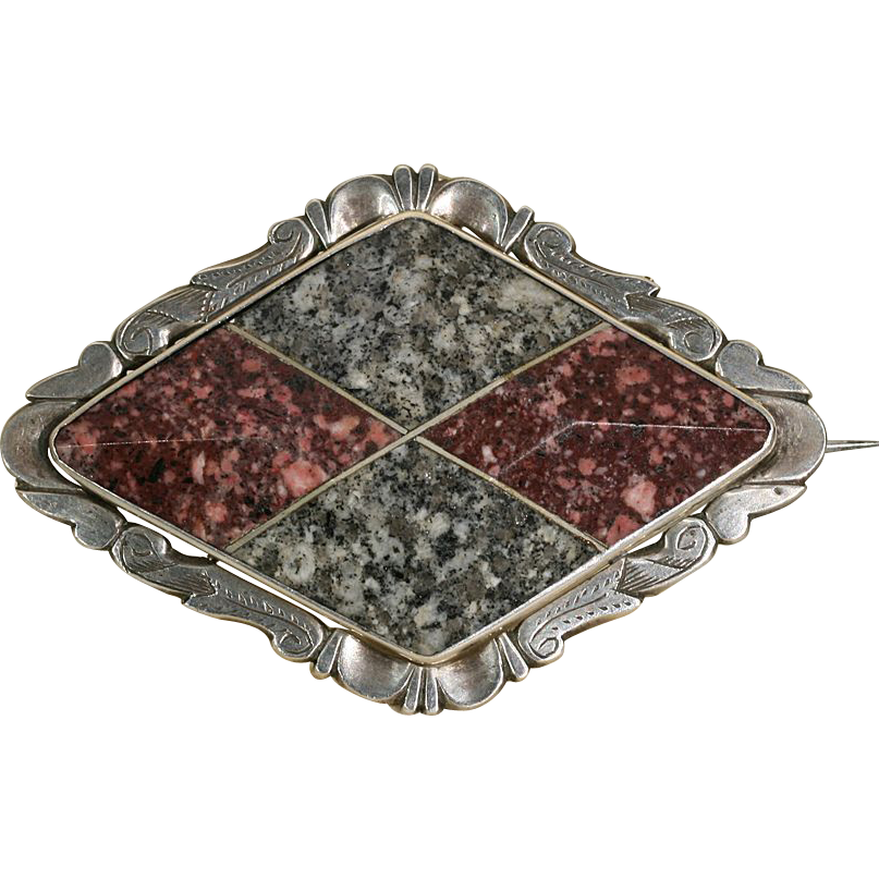 Beautiful Antique Victorian Scottish Gray and Red Granite Brooch c.1860