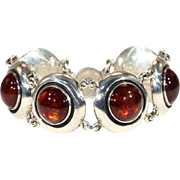 Danish Modern Amber and Silver Bracelet by N.E. From