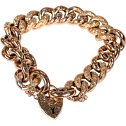 Victorian Gold Curb Link Bracelet with Heart Lock