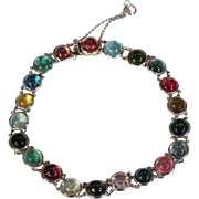 Vintage Edwardian Multi-Color Tourmaline Bracelet in Platinum