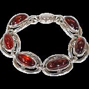 Vintage N.E. From Silver Amber Bracelet Denmark