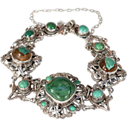 Antique Zoltan White Silver Turquoise Bracelet