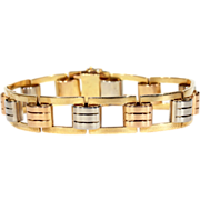 Vintage Retro 3 Tone Gold Bracelet, 18k Gold c. 1945