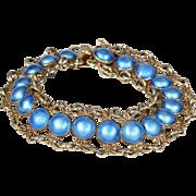 Vintage Blue Enamel Silver Gilt Bracelet by Arne Nordlie Norway
