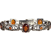 Antique Arts & Crafts Silver and Citrine Bracelet, English c. 1900