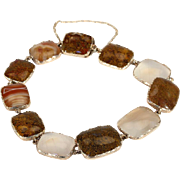 Antique Georgian Agate Bracelet in Gold, 7.5 Inches