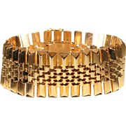 Fabulously Slinky Retro 18k Gold Bracelet, Heavy French