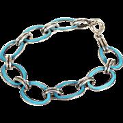 Art Deco Blue Enamel Silver Bracelet