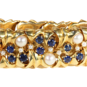 Fabulous Vintage Designer Bracelet in Heavy 18k Gold Set with Sapphires and Pearls