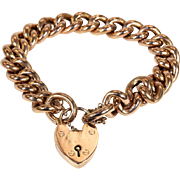 Antique Victorian Rose Gold Curb Link Bracelet with Heart Lock, c. 1890