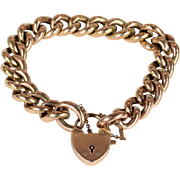 Lovely Antique 9k Rose Gold Curb Link Bracelet with Heart Lock Clasp