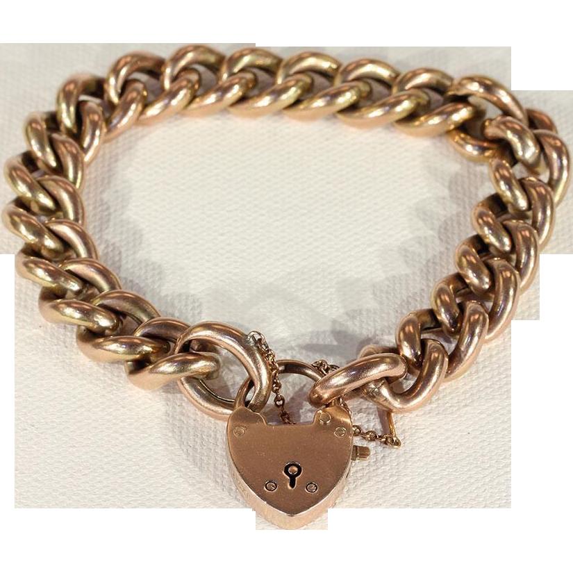 Lovely Antique 9k Rose Gold Curb Link Bracelet with Heart Lock ...