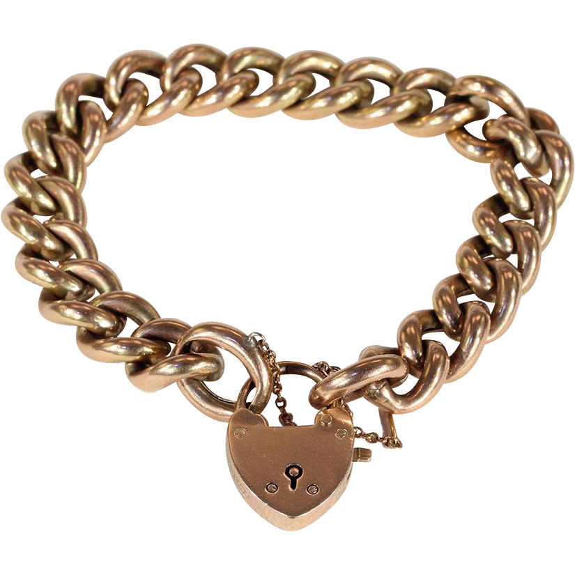 Lovely Antique 9k Rose Gold Curb Link Bracelet With Heart Lock Clasp Victoria Sterling Ruby Lane