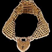 Antique Victorian Wide Gate Bracelet in 9k Gold with Heart Lock