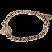 Antique Curb Link Bracelet Heart Locket