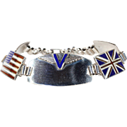 Vintage WWII Victory Bracelet in Silver Flags