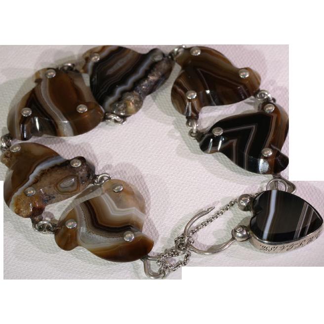 Antique Victorian Silver & Banded Agate Scottish Style Bracelet