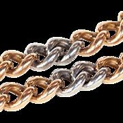 """Antique 18k Gold and Platinum Curb Link Bracelet, 8"""" Long"""