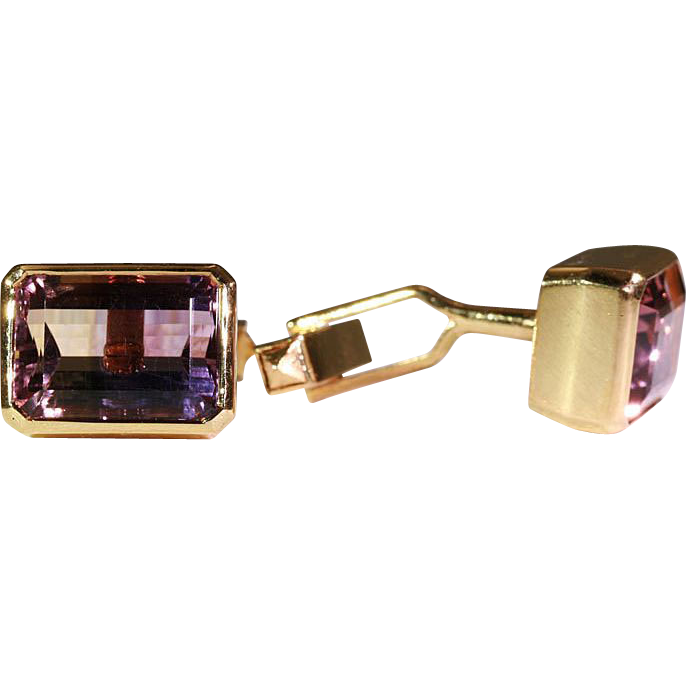 Vintage Retro Ametrine and 18k Gold Cufflinks