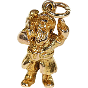 Vintage English Santa Claus Charm in 9k Gold