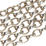 """Antique Edwardian Hand Crafted Sterling Silver Chain, 24.25"""""""