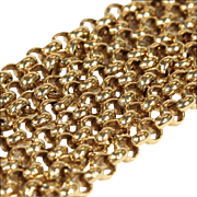 Antique 9k Gold Link Chain, 24.5 Inches Long, Yellow Gold