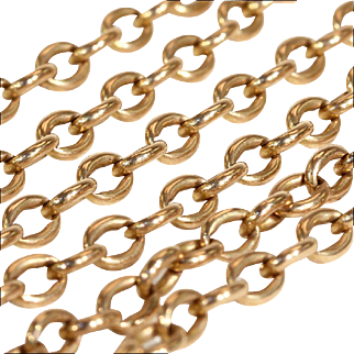 Antique 15k Chain with 9k Clasp, Yellow Gold, 21 inches long
