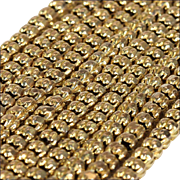 Antique 9 karat Long Guard Chain, Faceted Fancy Link Yellow Gold Chain Necklace, Late Victorian 1800s. 44 inches, 26.5 grams.